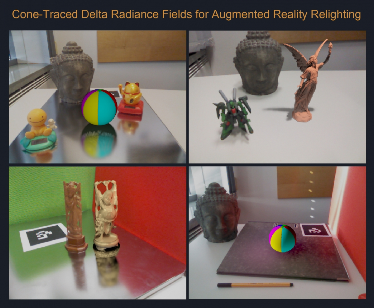 Cone-traced Delta Radiance Fields for Augmented Reality Relighting